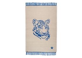 Tapis Varanassi Pop en coton - Tigre gris et bleu