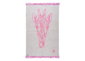 Tapis Varanassi Pop en coton - Girafe gris et rose