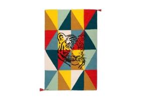 Tapis Varanassi Circus en laine - Tigre multicolore