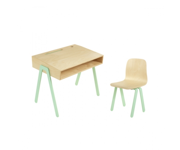 Kids desk and chair small IN2WOOD - Mint green