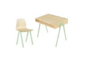 Ensemble Bureau junior et Chaise IN2WOOD - Vert menthe