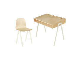 Kids desk and chair large IN2WOOD - White