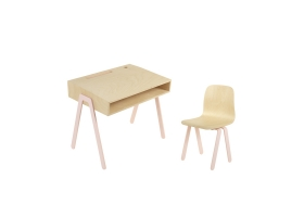 Kids desk and chair small IN2WOOD - Powder pink