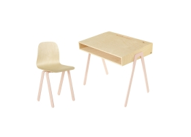 Kids desk and chair large IN2WOOD - Powder pink