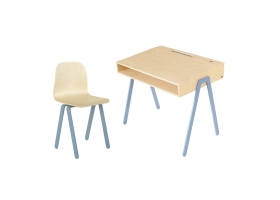 Ensemble Bureau Junior et Chaise IN2WOOD - Bleu