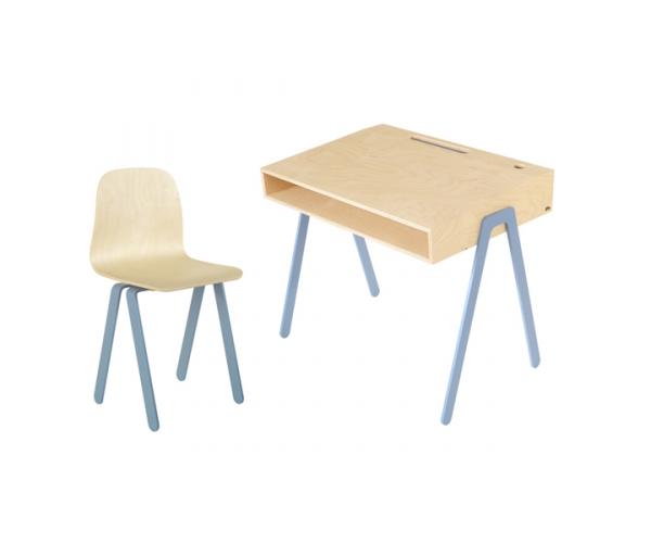 Bureau junior in wood et chaise enfant bleu