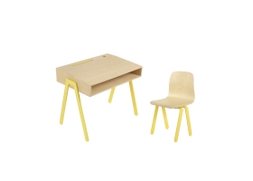 Kids desk and chair small IN2WOOD - Yellow