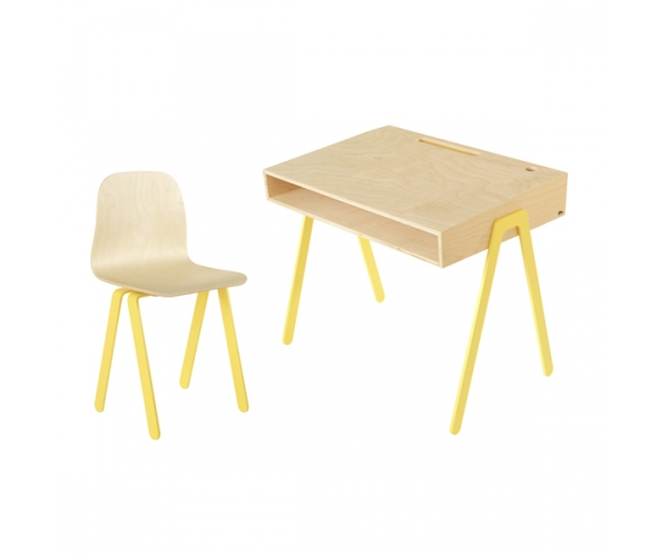 sc 1 st  Reves et Merveilles & Kids desk and chair large by IN2WOOD yellow