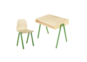 Ensemble Bureau Junior et Chaise IN2WOOD - Vert foncé