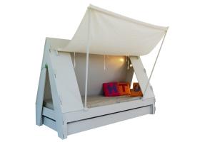 Lit Tente Mathy By Bols 90x190 cm avec lit tiroir - Blanc