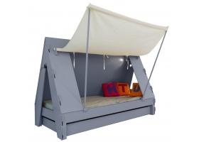 Lit Tente Mathy By Bols 90x190 cm avec lit tiroir - Gris basalte