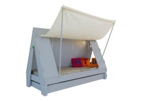 Lit Tente Mathy By Bols 90x190 cm avec lit tiroir - Gris