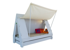 Lit Tente Mathy By Bols 90x190 cm avec lit tiroir - Bleu ciel