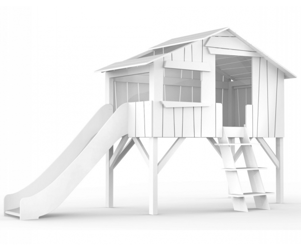 Treehouse Single bed and slide 90 x 190 cm by MATHY BY BOLS - White