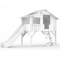 Lit Cabane avec Toboggan Mathy By Bols 90x190 cm - Blanc