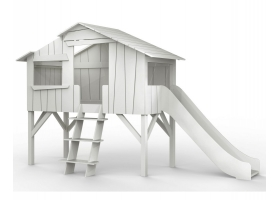 Lit Cabane avec Toboggan Mathy By Bols 90x190 cm - Gris perle