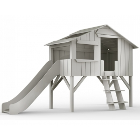 Treehouse Single bed and slide 90 x 190 cm by MATHY BY BOLS - Charcoal Grey
