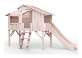 Treehouse Single bed and slide 90 x 190 cm by MATHY BY BOLS - Powder pink
