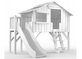 Lit Cabane avec Toboggan et plateforme Mathy By Bols 90x190 cm - Blanc