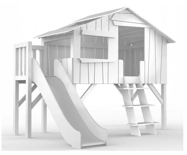 lit cabane toboggan avec plateforme mathy by bols laqu blanc. Black Bedroom Furniture Sets. Home Design Ideas