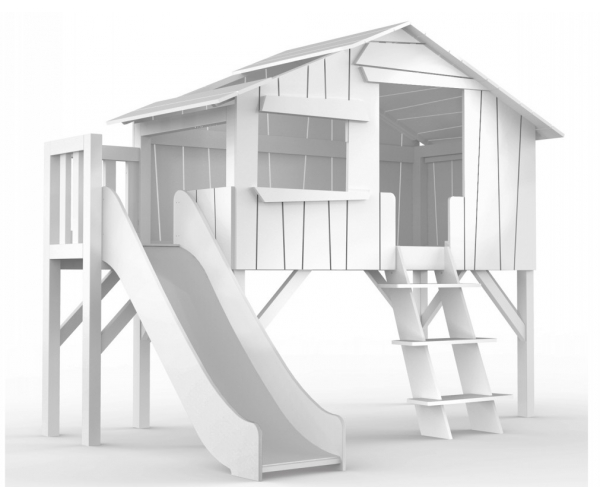 Treehouse Single bed and slide with plateform 90 x 190 cm by MATHY BY BOLS - White
