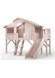 Treehouse Single bed and slide with plateform 90 x 190 cm by MATHY BY BOLS - Powder pink