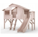 Treehouse Single bed and slide with plateform 90 x 190 cm by MATHY BY BOLS - Winter pink