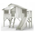 Treehouse Single bed and slide with plateform 90 x 190 cm by MATHY BY BOLS - Grey