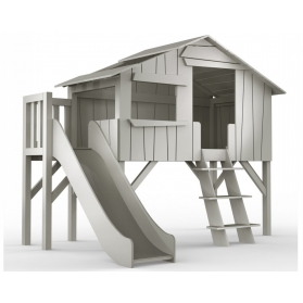 Treehouse Single bed and slide with plateform 90 x 190 cm by MATHY BY BOLS - Charcoal Grey
