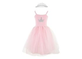 Robe de princesse rose et sa couronne argentée