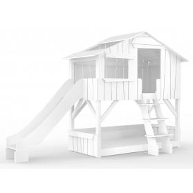 Lit Cabane superposé avec Toboggan Mathy By Bols 90x190 cm - Blanc