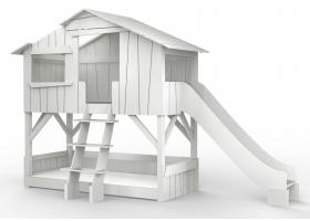 Lit Cabane superposé avec Toboggan Mathy By Bols 90x190 cm - Gris perle