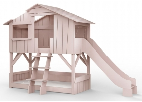 Treehouse Bunk bed and slide 90 x 190 cm by MATHY BY BOLS - Winter pink
