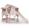 Lit Cabane superposé avec Toboggan Mathy By Bols 90x190 cm - Rose hiver