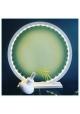 Lampe à poser en bois peint Blanc - Taille 45 cm