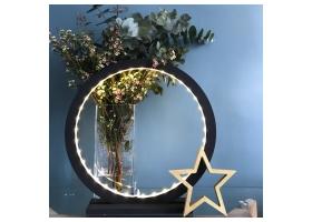 Lampe à poser en bois peint Noir - Taille 45 cm