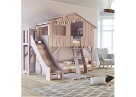 Lit Cabane superposé avec Toboggan et plateforme Mathy By Bols 90x190 cm - Rose hiver