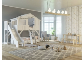 Treehouse Bunk bed and slide with plateform 90 x 190 cm by MATHY BY BOLS - White