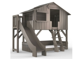 Treehouse Bunk bed and slide with plateform 90 x 190 cm by MATHY BY BOLS - Linnen