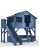 Lit Cabane superposé avec Toboggan et plateforme Mathy By Bols 90x190 cm - Bleu Atlantic