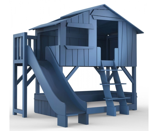 Treehouse Bunk bed and slide with plateform 90 x 190 cm by MATHY BY BOLS - Atlantic blue