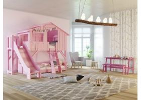 Lit Cabane superposé avec Toboggan et plateforme Mathy By Bols 90x190 cm - Rose clair