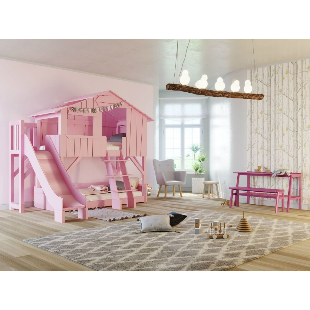 Picture of: Treehouse Bunk Bed With Slide And Plateform By Mathy By Bols In Pink