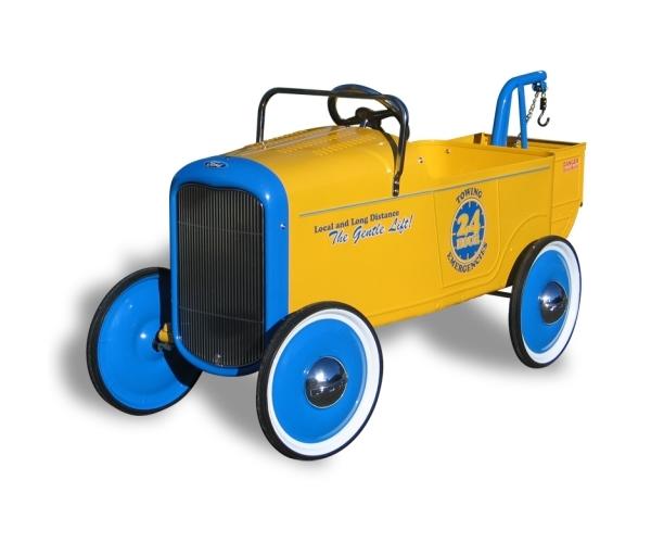 """Voiture à pédales """"de collection"""" Dépanannage - Métal jaune et bleu"""