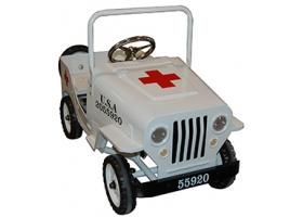 Voiture à pédales Jeep US en métal blanc - Ambulance Croix rouge