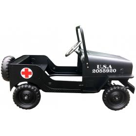 Voiture à pédales Jeep US en métal noir - Ambulance Croix rouge