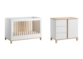 Pack Duo : Baby Bed 70 x 140 + Dresser With Changing Table Altitude - White