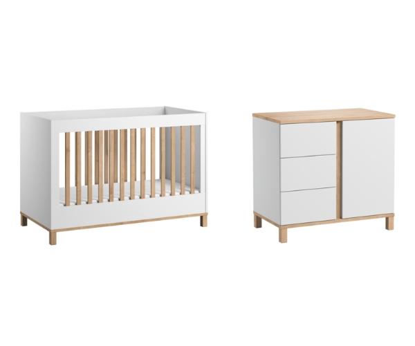 Pack Duo : Lit bébé évolutif 70 x 140 + Commode à langer Altitude - Blanc