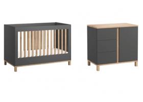 Pack Duo : Lit bébé évolutif 70 x 140 + Commode à langer Altitude - Gris