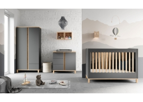 Pack Trio : Baby Bed 60 x 120 + Dresser With Changing Table Altitude + 2 Wardrobe - Grey